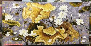 Mẫu tranh sơn dầu hoa sen đẹp cho phòng khách